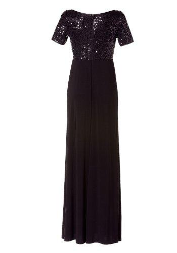 APART Damen Kleid/ Lang Jersey-Kleid mit schimmernden Pailletten, 362564 Schwarz (Schwarz)