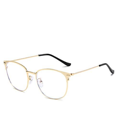 Mkulxina Anti Blue Light Mode Metallrahmen Brille Unisex Brillengestell für Frauen, Männer (Color : Gold)