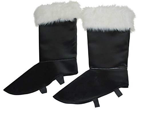 Stiefelstulpen Weiße Kostüm - Stiefelstulpen mit Fell zum Weihnachtsmann Kostüm - Schwarz Weiß - Toll zum Nikolaus, Weihnachten oder Heiligabend Kostüm