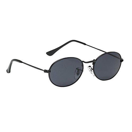Homyl Runde Retro Lennon Sonnenbrille Vintage Polarisierte Linsen Rundbrille Hippi Brille Nickelbrille Dekobrille - Schwarzer Rahmen Schwarz Graue Linse