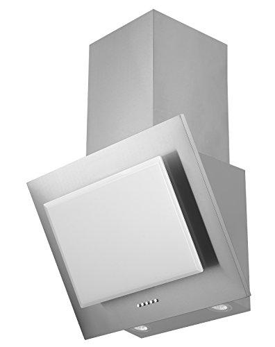 respekta Dunstabzugshaube Schräghaube kopffrei Edelstahl Glas weiss 60 cm LED