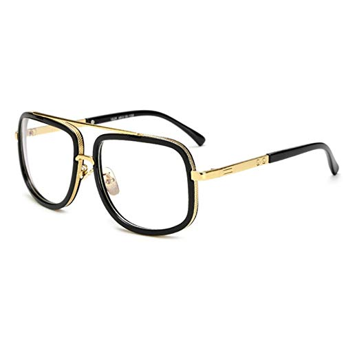 Macxy - Maxi-Mann-Sonnenbrille Männer Luxusmarke Frauen Sun-Glas-Platz Male Gafas de sol weibliche Sonnenbrille für Männer Frauen [Schwarz Weiß]