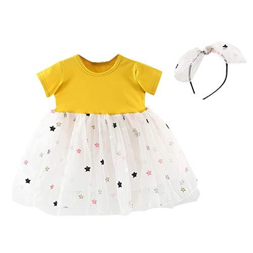 Alwayswin Kleinkind Baby Kinder Tutu Kleid Mädchen Sterne Tüll Patchwork Prinzessin Kleider Haarband Outfits Kinder Kurzarm-Mesh-Nähte Sterne Kleid Prinzessin Rock + Stirnband