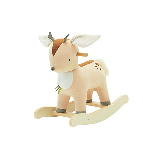 labebe -?New Baby Rocking Horse, Kid Wooden Rocker, Ride on Toy for 1-3 Year Old, Rocking Animal Child, Yellow Deer Rocking Horse for Girl/Infant Plush Rocker Chair/Large Toddler Toy - Birthday Gift
