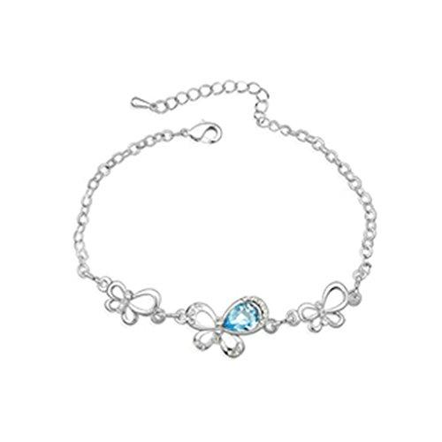 Aooaz placcato in oro bianco braccialetto per le donne,matrimonio bracciale a maglies CZ cristallo Zirconia cubica,farfalla blu mare