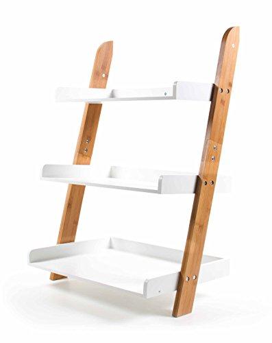 Preisvergleich Produktbild Bambus Regal, Materialmix mit MDF, 3 Fächer mit Rand, frei angelehntes Design, Wandbefestigung möglich, Höhe ca. 78,5 cm