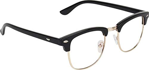 Sheomy Sunglasses Eyeglasses Frames For Eye Glasses For Mens Womens Girls Boys (Clear-Clubmaster-Black-Frame-Single)