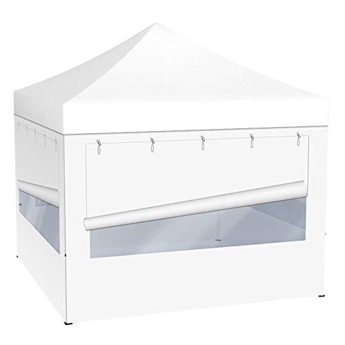 Vispronet® Faltpavillon Eco 3x3 m ✓ 4 Zeltwände mit Panoramafenster ✓ Scherengittersystem ✓ inkl. Dach mit Volant (Weiß)