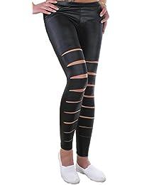 Damen Stretch Leggings Hose schwarz mit Zippern, Rissen oder Einsätzen