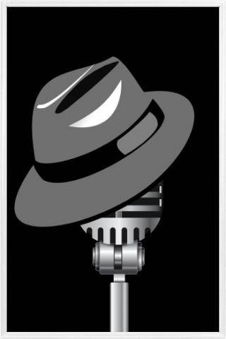 1art1 Musik Poster und Kunststoff-Rahmen - Fedora Hut -