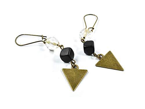 zimt & silber I SCHMUCKMANUFAKTUR, VINTAGE-Ohrringe für Damen/Frauen mit Glasschliffperle und Lava-Würfel, Modeschmuck, Farben: Gold + Schwarz