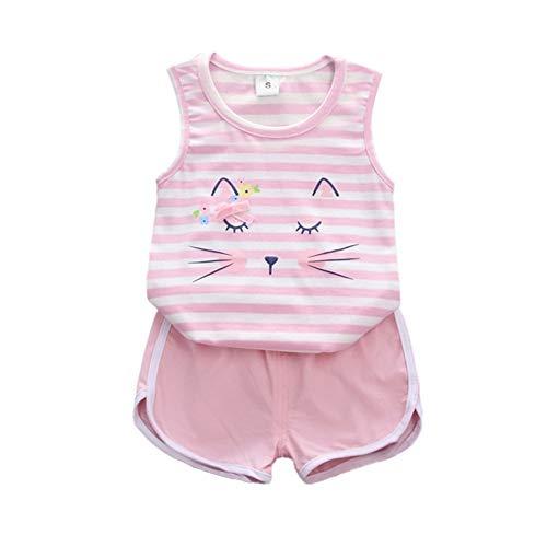 Unisex Baby Boy Girl Sommerkleidung Set Cartoon Cat Design ärmelloses Shirt Top und Shorts Hose Kinder zweiteiliges Outfit -