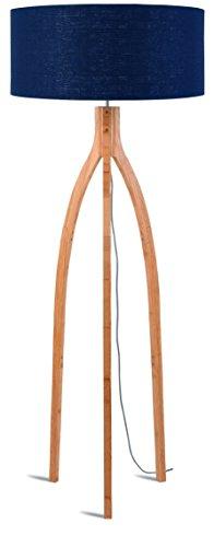 Good & Mojo Annapurna lámpara de pie bambú/Lin ecológica 60W E27, bambú, Bleu Jean, E27 60 wattsW