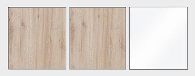 Wohnwand Anbauwand 4-teilig 20846 eiche hell - Farbe der Front und Aufleistungen wählbar
