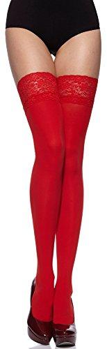 Merry Style Damen halterlose Mikrofaser 40 DEN Strümpfe mit Spitze (Rot, 1/2 (32-38))