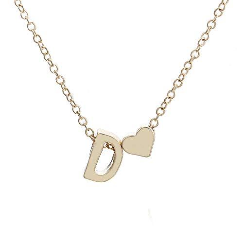 Gaddrt Necklace Halskette Mode Frauen Nette Herz Brief Halsband Kette Anhänger Dame Halskette Schmuck (D)