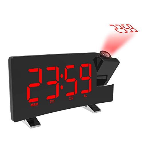 mayizhong Projektion Alarm Clock mit USB-Ladefunktion AM/FM Radio, Akku Backup, Auto Time Set, Dual 3,5 mm Audio Input, Red (Clock Radio Electrohome)