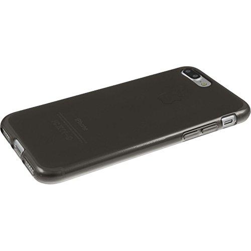 PhoneNatic Case für Apple iPhone 8 Plus Hülle Silikon weiß transparent Cover iPhone 8 Plus Tasche + 2 Schutzfolien Schwarz