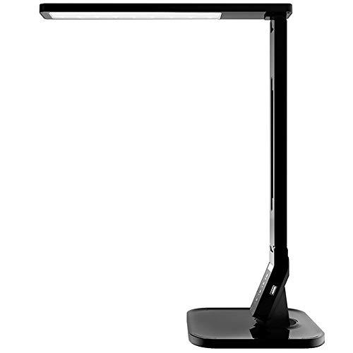 ZY * Lampe de bureau à LED avec port de chargement USB, mode d'éclairage à 4 niveaux de luminosité, minuterie, fonction de mémoire, noir, blanc (couleur: noir)