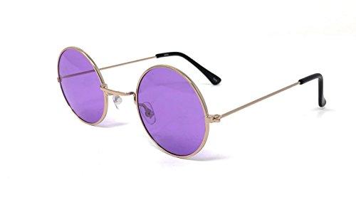 Ultra Gold mit Purple Lenses Erwachsene Retro Runde Sonnenbrille Small Style John Lennon Sonnenbrille Vintage Look Qualität UV400 Elton John Lennon Brille Männer Frauen