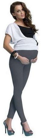Hochwertige Umstandshose Legging lang für Schwangere aus Baumwolle, 7 verschiedene Farben Dunkelgrau