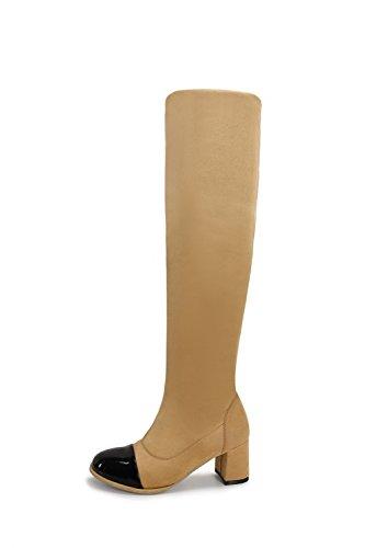 VogueZone009 Damen Hoch-Spitze Gemischte Farbe Ziehen auf Mittler Absatz Stiefel, Aprikosen Farbe, 36