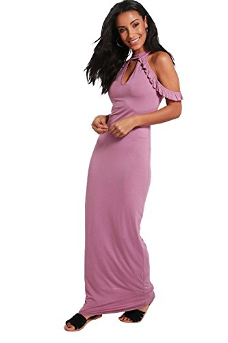 Lilas Femmes Penny Cold Shoulder High Neck Maxi Dress Lilas
