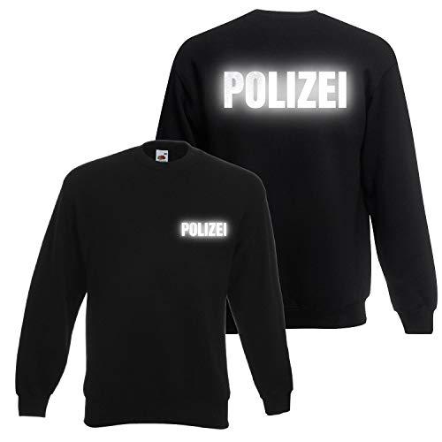Shirt-Panda Herren Polizei Sweatshirt - Druck Brust & Rücken Reflex Schwarz (Druck Reflex) L