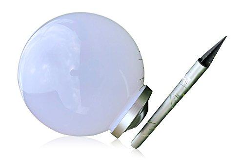 XL 40 cm Garten Kugel Lampe LED Solarleuchte Solarlampe Kunststoff Kugelleuchte 40 cm XL Durchmesser - sehr hochwertig verarbeitete Solar Gartenkugel aus wetterfestem Kunststoff - mit 4 brite LEDs für tolle Stimmungsbeleuchtung - perfekt als Wegeleuchte oder Gartendekoration