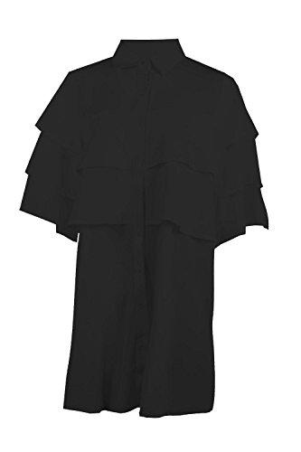 Schwarz Damen Shay Abgestuftes Hemdkleid Mit Rüschen Schwarz