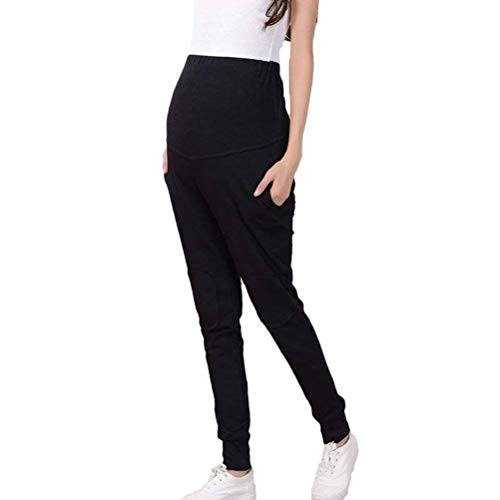 Hochwertig Fashion Cotton Casual Long Pants Classic Protect Belly Sports Pants Relaxed Elastic for Pregnant Women Kleidung (Color : Schwarz, Size : 3XL) Cotton Classic Baggy Pants