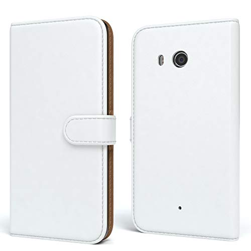 EAZY CASE HTC One (M8) / (M8s) Hülle Bookstyle mit Standfunktion, Book-Style Case aufklappbar, Schutzhülle, Flipcase, Flipstyle, Flipcover mit 2 Kartenfächern aus Kunstleder, Weiß