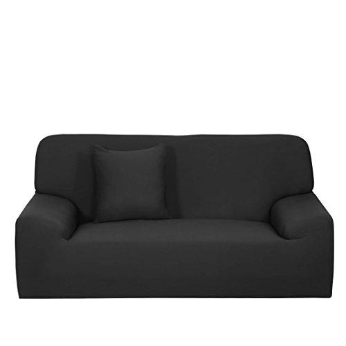 Wohnmöbel Sessel Zweisitzer Sofa 1 2 3-sitzer Sofa Stretch Deckel Elastisch Protektor Riemen Husse 10 Farben - Schwarz Zweisitzer, 57''-73'' (Spandex-stretch-riemen)