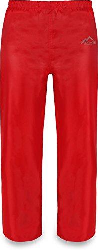 normani Kinder Regenhose Matschhose Überziehhose ungefüttert - 100% Wasser -und Winddicht Farbe Rot Größe M/134-140