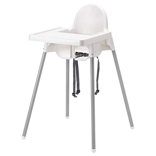 IKEA Hochstuhl Antilop mit Ablage, Sicherheitsgurt, weiß/silber