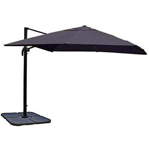 Gastronomie-Luxus-Ampelschirm Sonnenschirm N22, Ø 4,30 m ~ anthrazit mit Ständer, drehbar