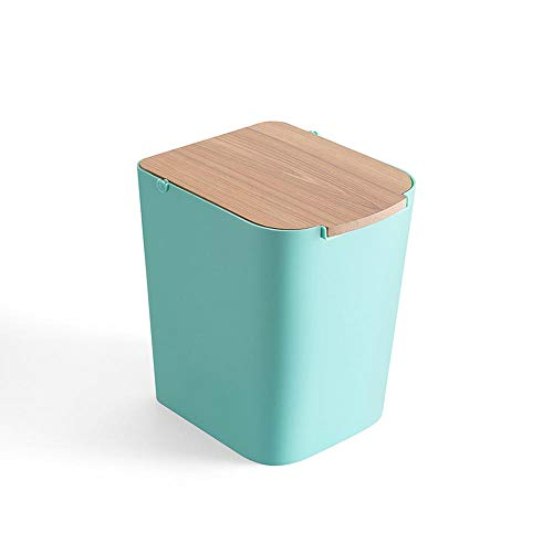Recycling-kunststoff-square (zhongleiss Abfalleimer Square Papierkorb Badezimmer mit Deckel Garbage Zimmer Küche Wohnzimmer Kunststoff Mülleimer, Blau Grün)