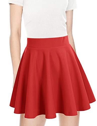 (bridesmay Damen Mini Rock Basic Solid vielseitige Dehnbaren informell Minikleid Retro Sexy Rock Faltenrock Red L)