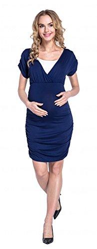 Happy Mama. Damen Umstandskleid Stillkleid Gerafftes Kleid Kurzen Ärmeln. 669p Marine