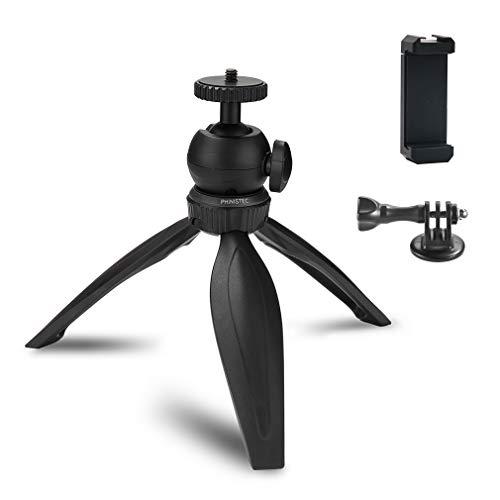 Phinistec Mini Tischstativ für Handy, Kamera, iPhone, Gopro, Mini Projektor mit Smartphone Halterung und Gopro Adapter (Schwarz) (Mini-projektor Smartphone)