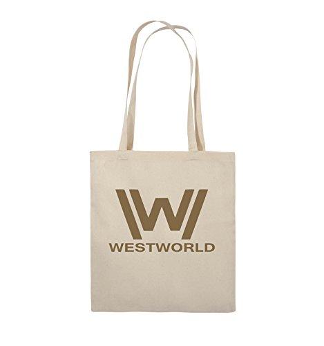 Comedy Bags - WESTWORLD - LOGO - Jutebeutel - lange Henkel - 38x42cm - Farbe: Schwarz / Silber Natural / Hellbraun