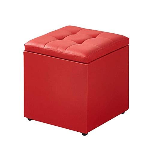 YIDIAN-Ottoman PU-Aufbewahrungshocker praktische gepolsterte Hocker Puff für Wohnzimmer Schlafzimmer einzigen Ottomane Sitz (Farbe : Rot) (Rot Ottomane Wohnzimmer Für)