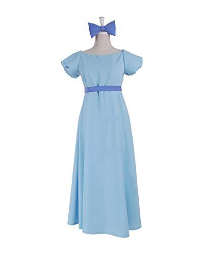 Wendy Wendy's Von Kostüm - Damen Lang Licht Blau Kleid Darling Cosplay Wendy Kostüm für Halloween (Damen M, Licht Blau)