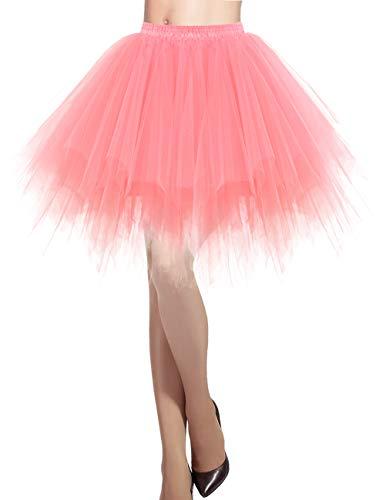 Kleine Kostüm Tanz Gruppe - Dresstells Damen Tüllrock 50er Rockabilly Petticoat Tutu Unterrock Kurz Ballett Tanzkleid Ballkleid Abendkleid Gelegenheit Zubehör Coral L