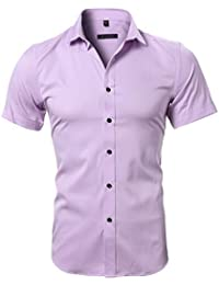 dcdbb1fc9d5 Harrms Mens Dress Shirts Short Sleeves Bamboo Fiber Elastic Slim Fit Button  Down