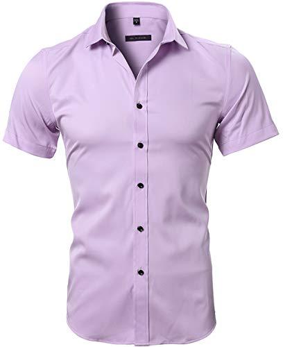 HARRMS Herren Hemd Kurzarm Slim Fit Bambusfaser für Anzug/Business/Hochzeit/Freizeit,Hemden Shirts für Männer,Pink,XS-39 EU