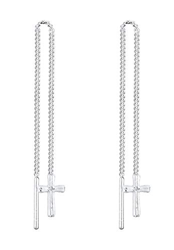 Elli Damen Ohrringe Durchzieh Kreuz 925 Sterling Silber 0311172713