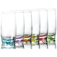 Sables & Reflets 6 Verres à jus et Soda - Fond coloré de 6 Couleurs - 340 ML