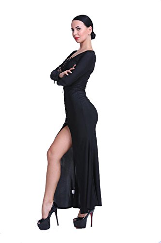 JOTHIN 2017 Femmes Maïs Robe Bandage Robe Tie Wraps Dos-nu Couleur Unie Fendue Col Ronde Slim Sexy Robe Maxi (S-XL) Noir