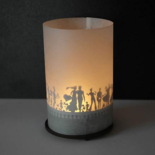 13gramm Hochzeit Windlicht Schattenspiel Premium Geschenk-Box, inkl. Kerzenhalter, Kerze, Projektionsschirm und Teelicht